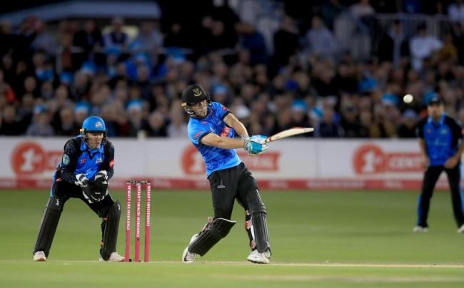 Sussex Sharks' Phil Salt hits a six during the Vitality Blast T20 Quarter Final at The County Ground, Hove..