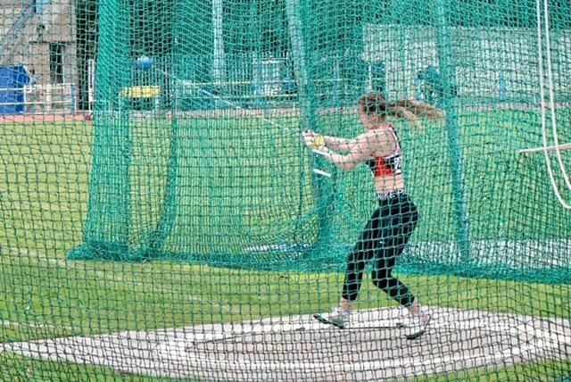 HAMMER TIME: Lucy Hill set a new personal best as she won the Under 13s hammer event at the Trafford Open