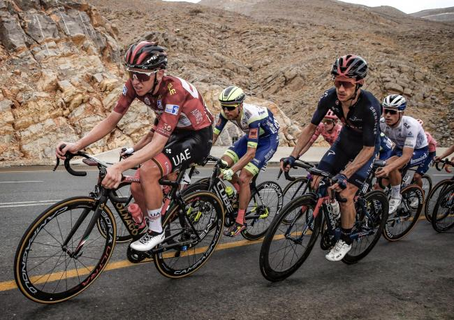 Jebel Jais - Emirates - wielrennen - cycling - cyclisme - radsport - Tadej Pogacar (SLO - UAE Team Emirates) - Adam Yates (GBR - Ineos Grenadiers) pictured during  3rd UAE Tour 2021- stage 5 from Fujairah Marine Club to Jebel Jais(170KM  - photo LB/RBCor