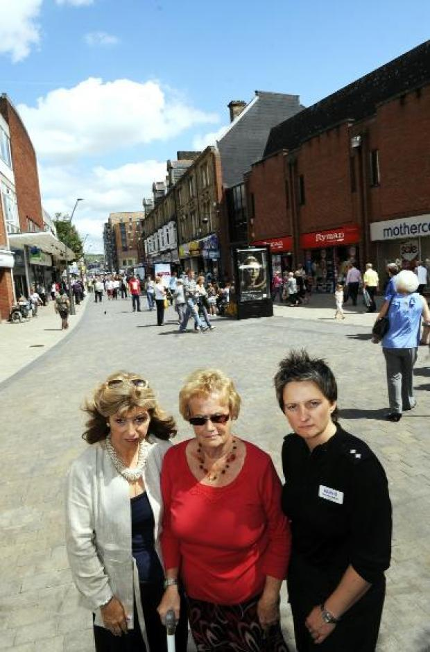 NO GO FOR BIKES: At The Rock are, from left, Cllr Yvonne Wright, Stephanie Garvey and Insp Charlotte Cadden