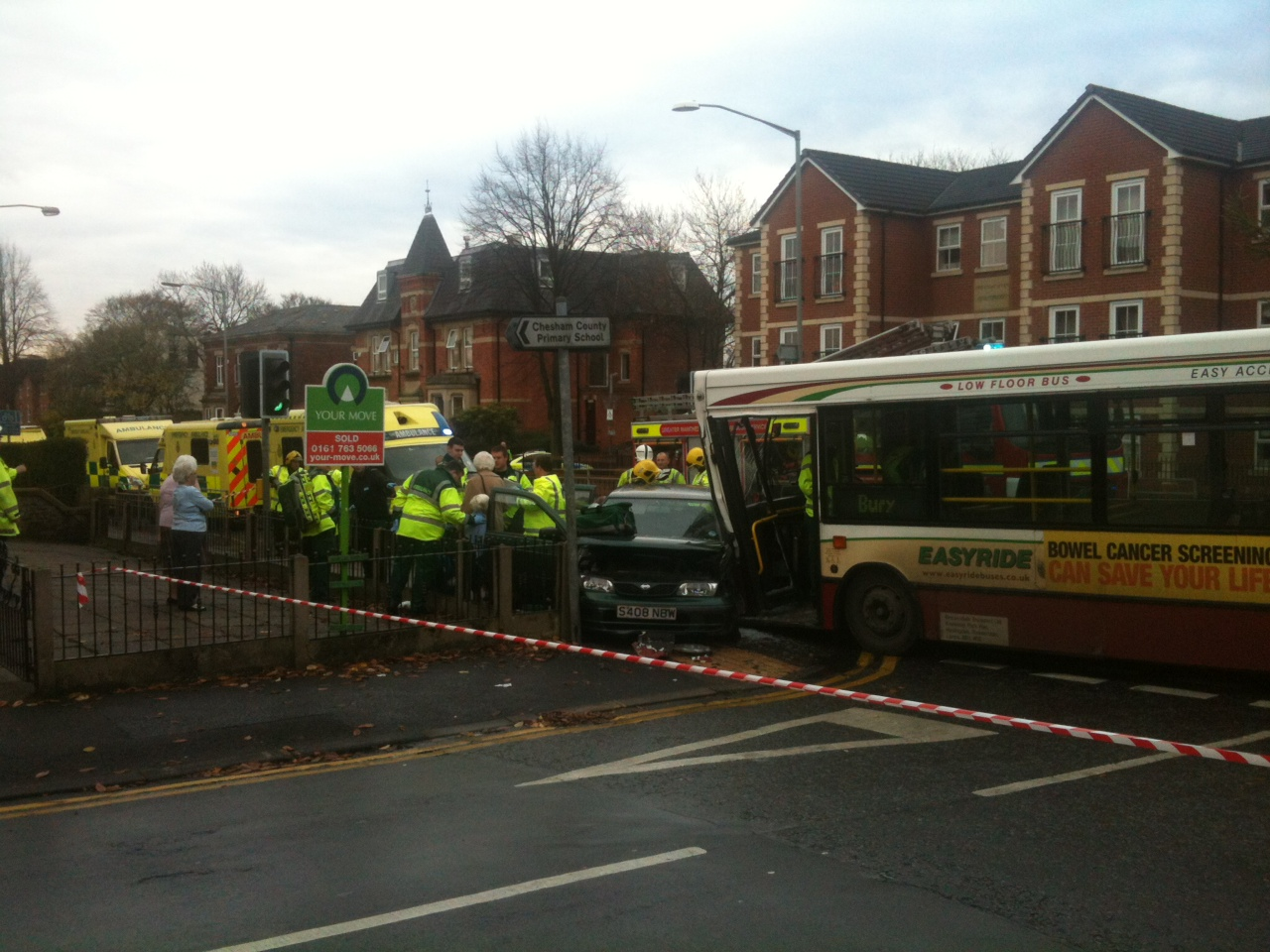 Car and bus collide in Walmersley Road