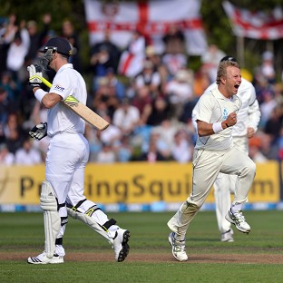 Kevin Pietersen, left, made a duck as Neil Wagner, right, took wickets with his second and third deliveries
