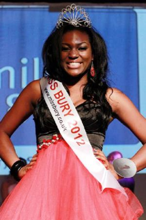 Aisha Sewell, aged 18, who has been crowned Miss Bury.