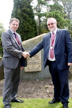 HANDING OVER REINS Outgoing headteacher Martin Braidley with the incoming Brian Roadnight