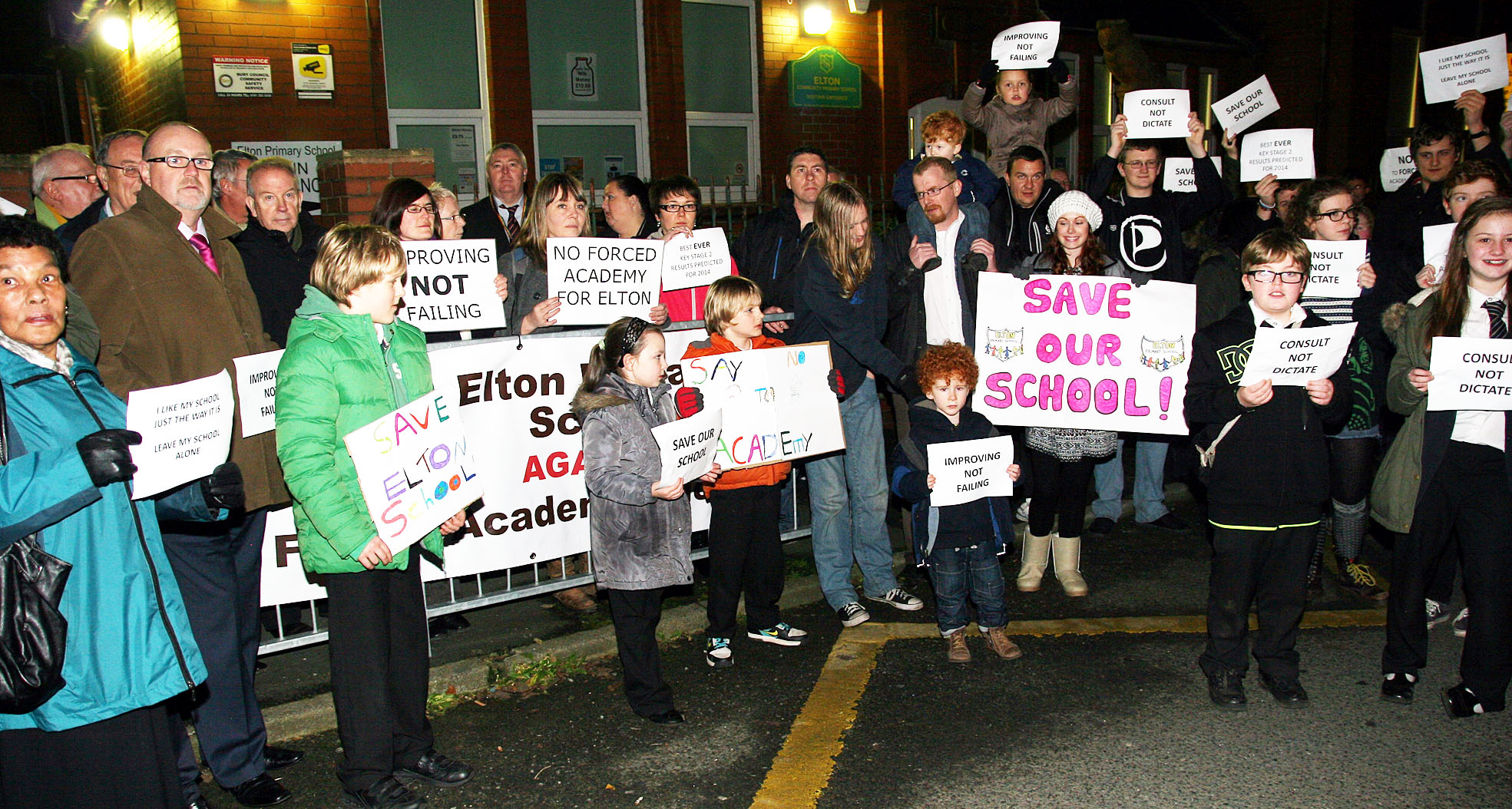 The protest held outside Elton Primary School