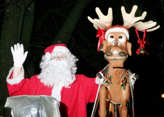 FESTIVE: Father Christmas as the sleigh set off on its first journey of this year