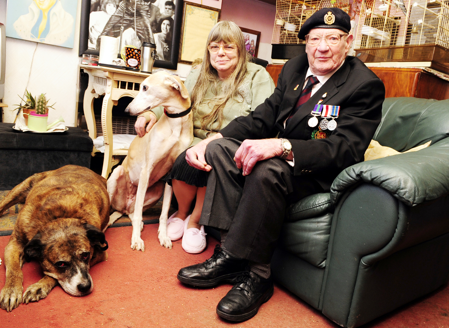 Carole McLean and  William Bowerbank with their dogs, Taz, left and Sally