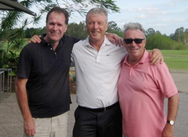 From left, Andy Russell, Dave Killeen and Gary Zabel enjoying a game of golf at Indooroopilly Golf Course in Brisbane