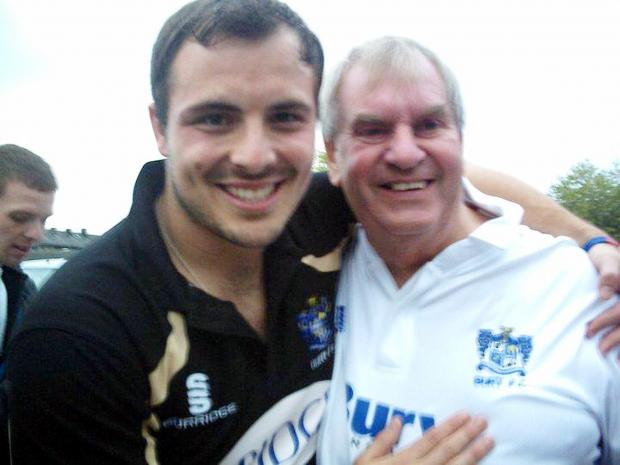 Keith Freeman, right, with former Bury goalkeeper Cameron Belford at Chesterfield in 2011, following the club's promotion to League One
