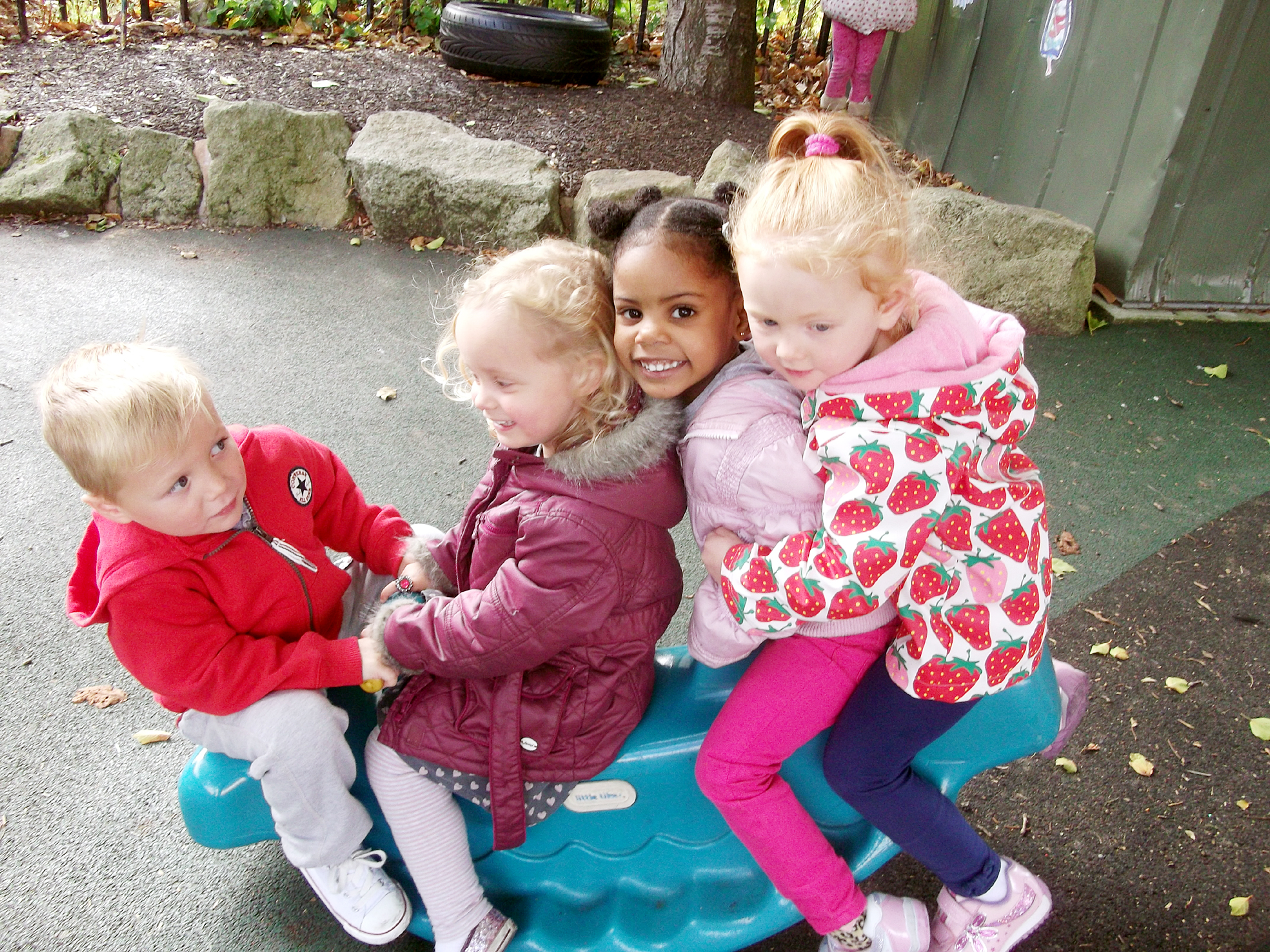 Having fun, from left Bradley Whittle, Emily Fishwick, Kasiya Evans and India Nuttall