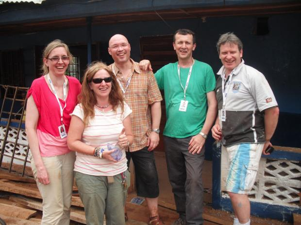 From left, Marianne McCallum, of Turley Associations, Alison Marsh, of Mission Direct, with Bob May, Paul Singleton and Nigel Hyde of Turley Associates on their last visit to Sierra Leone