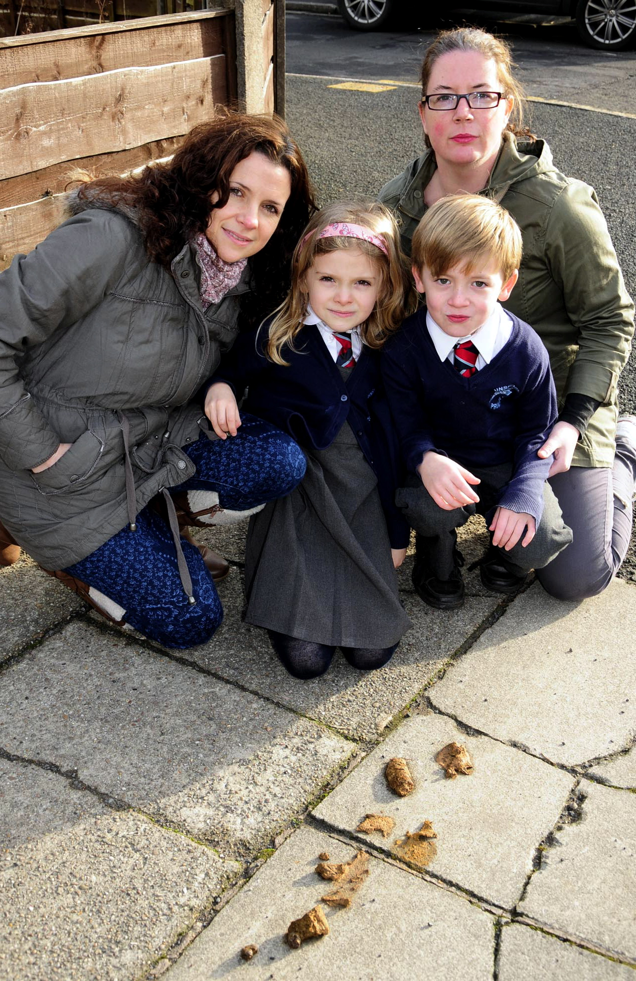 From left, Alison Mobey and daughter Abigail, aged seven, with Charlie Fawcett and his mum Claire