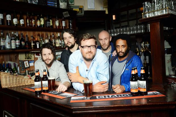 At the bar are Mark Potter, Craig Potter, Guy Garvey, Richard Jupp and Pete Turner
