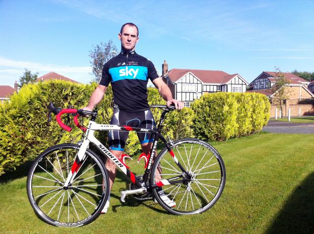 Paul, who is now back in the saddle after suffering a major stroke and, below, cycling star Mark Cavendish