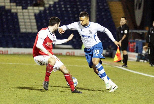 Tom Soares on his return to action for Bury against Fleetwood Town