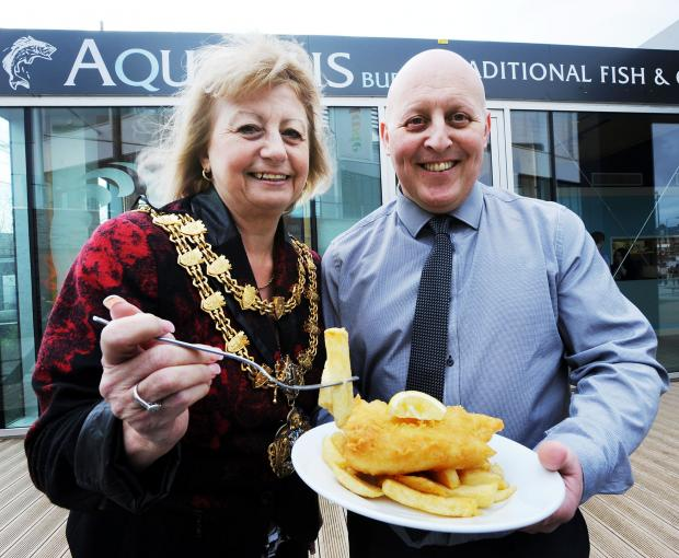 Bury Times: Bury mayor, Cllr Sharon Briggs, with Darren Sudlow
