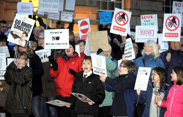 Protesters outside Bury Town Hall on Tuesday night