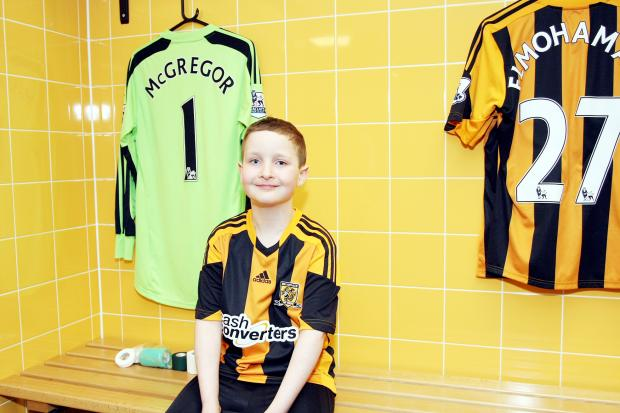 Ted Rice in the Hull City kit before the match on Saturday