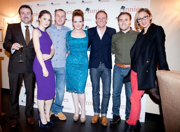 Bury Times: Jennie McAlpine (centre) with Corrie pals Graham Hawley, Paula Lane, Andy Whyment, Antony Cotton, Alan Halsall and Lucy-Jo Hudson