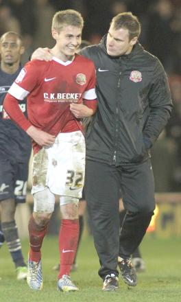 Danny Rose, left, with Bury boss David Flitcroft during his time as Barnsley manager