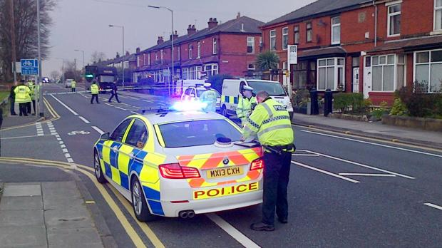 Bolton Road in Bury was closed yesterday following the incident