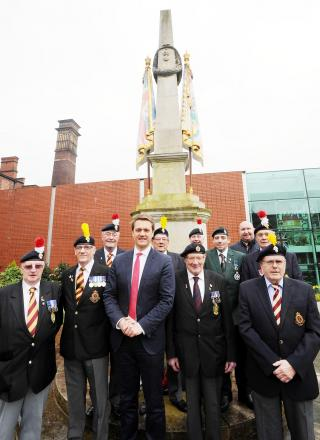 Councillor James Firth and veterans of the Royal Lancashire Regiment of Fusiliers