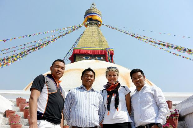Bury Times: Melanie with the brothers who will be accompanying her (from left), Mingma, Dawa and Tashi Sherpa