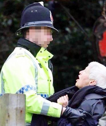 Anti-fracking protester Judy Paskell from Bury claims she was man