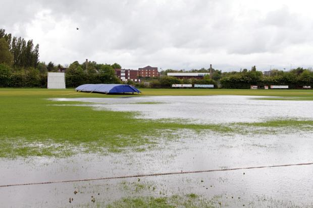 WATERLOGGED The sodden pitch at Unsworth Cricket Club on Sunday