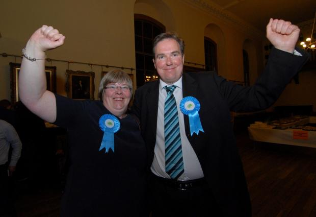 Bury Times: Worcester City Council Election at the Guildhall. Left to right - Councillors Lucy and Stephen Hodgson celebrate the latter's victory. Picture by Nick Toogood. (6475219)