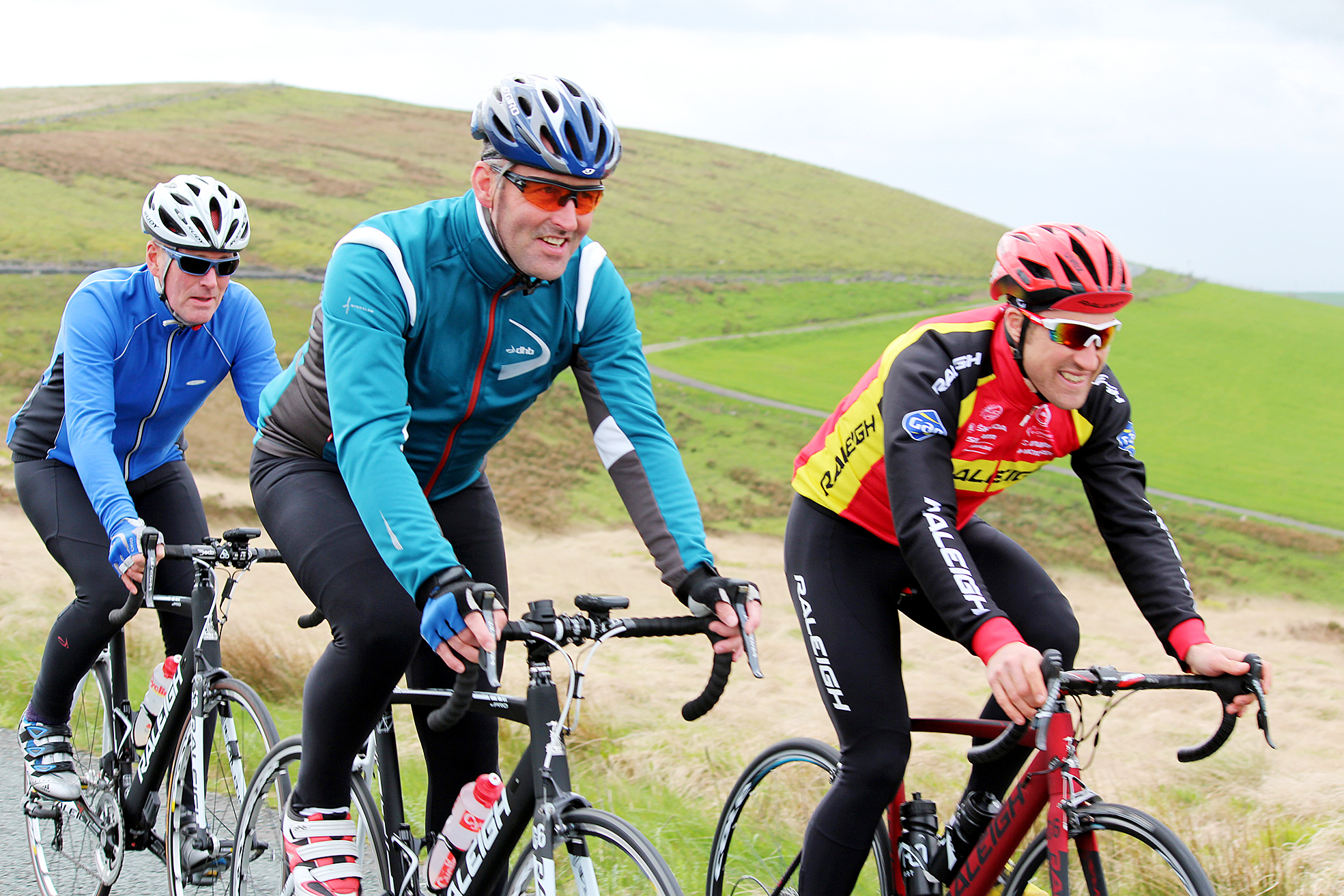 Ian Wilkinson, in red, has a go at the Reg Harris Cyclosportive course