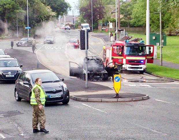 The car fire in Bolton Road West, Ramsbottom