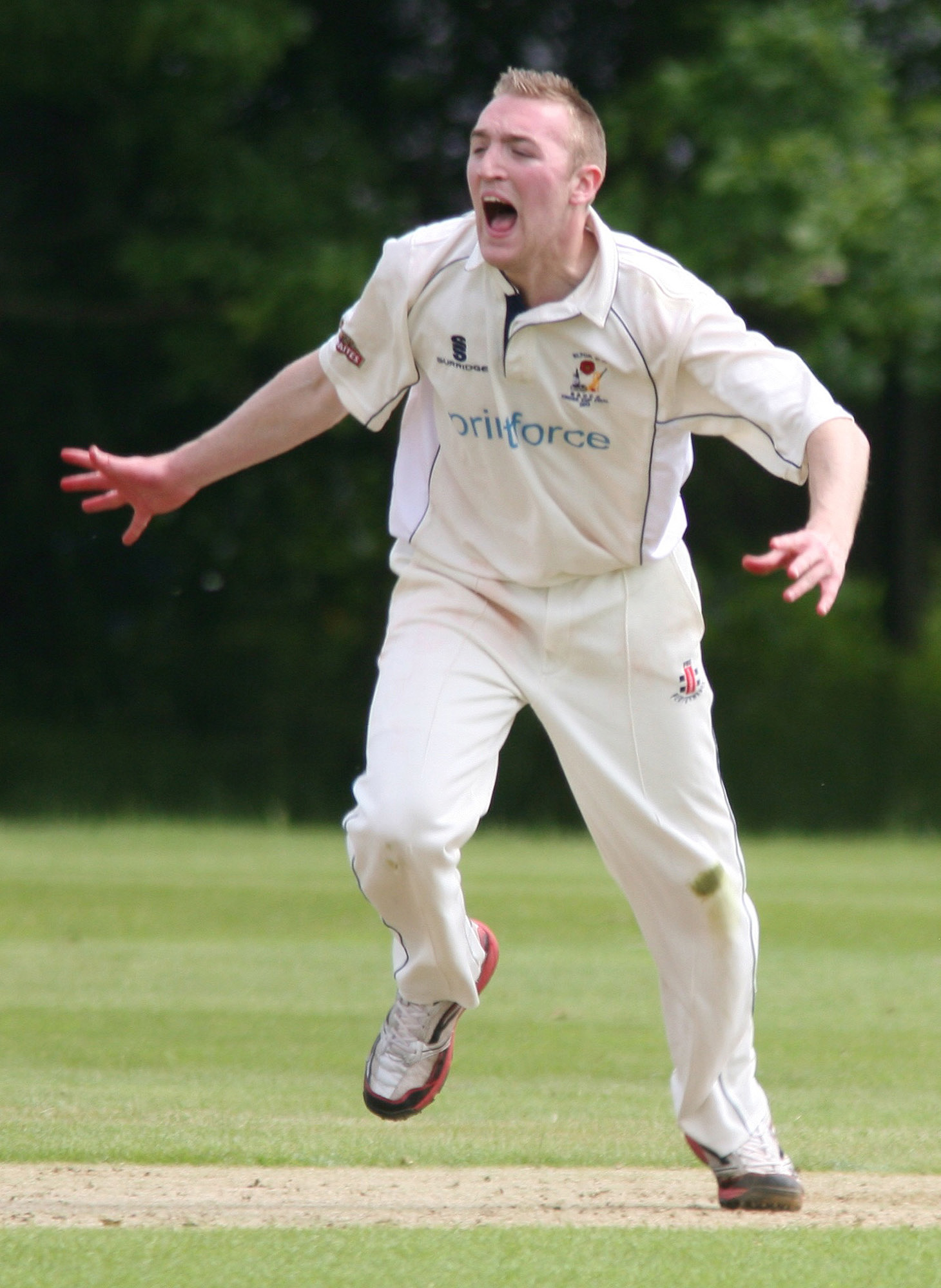 OUT Elton's Adam Stansfield celebrates a wicket