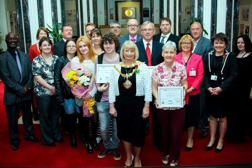 Bury's outgoing mayor, Cllr Sharon Briggs with the prizewinners and councillors at the Made in Bury presentation.  Andrew Taylor and Christine Taylor are to the right of Cllr Briggs