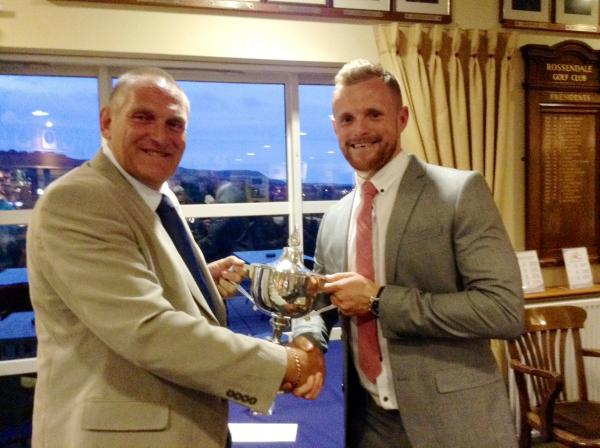 Chris Nicholls, right, receives the Harry Vardon Trophy from BDGA president Craig Lister