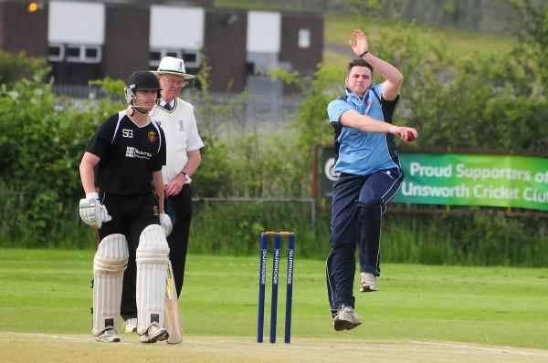 Unsworth's Jack O'Brien bowling