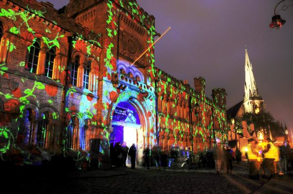 Briar Rose light show on the Castle Armoury, Castle Street, Bury at Bury Light Night which attracted thousands of people