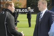 Bury manager David Flitcroft, left, and chairman Stewart Day