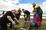 Photo: David Hurst Planting summer flowers at the Incredible Edible 'Big Dig' event at Radcliffe Metrolink Station are, from left, Gillian Stainthorpe, Mark Lockwood, Andy Garner, Denis Mallon and Pete McGagh (21267169)