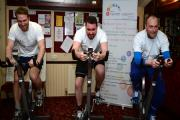 L-R:   John Pemberton, Andrew Donnelly and Chris Murray and  at Elton Cricket Club, Leigh Lane, Bury, where they are completing a mammoth charity bike ride. Photo by Karen Hope, Friday March 20 2015.  Reporter: Andrew Bardsley (21267056)
