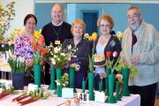 Picture by Julian Brown for The Bolton News 18/04/15  Judges and officials pictured left, Dianne Mason, Roger Brown, Marion Benson, Hilary Marshall and Alan Cooper with some of the exhibits at Tottington Horticultural Society spring show (23592906)