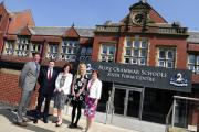 BGS Official opening of sixth form college. L/R;Richard Marshall, Head of Boys, Ciaran McCaughey, Ex pupil,Mayor of Bury, Heather Sellars, ex pupil.Bobby Georghiou. Head of Girls. Images by Steve Holt,Bury Times, Thursday April 23 2015. (24049894)