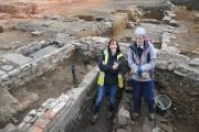 Senior archaeologist Vicky Nash (left) with volunteer Jenny Cracknell