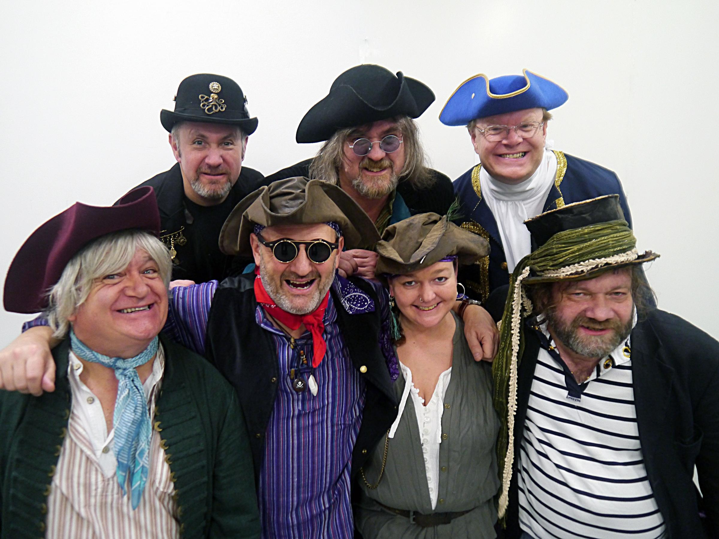 RUM LOT: Mark Radcliffe (second left, front row) and the crew of Galleon Blast