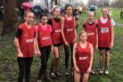The Bury schools junior girls team after the Greater Manchester Cross Country Championships in Longford Park, Stretford (55284090)