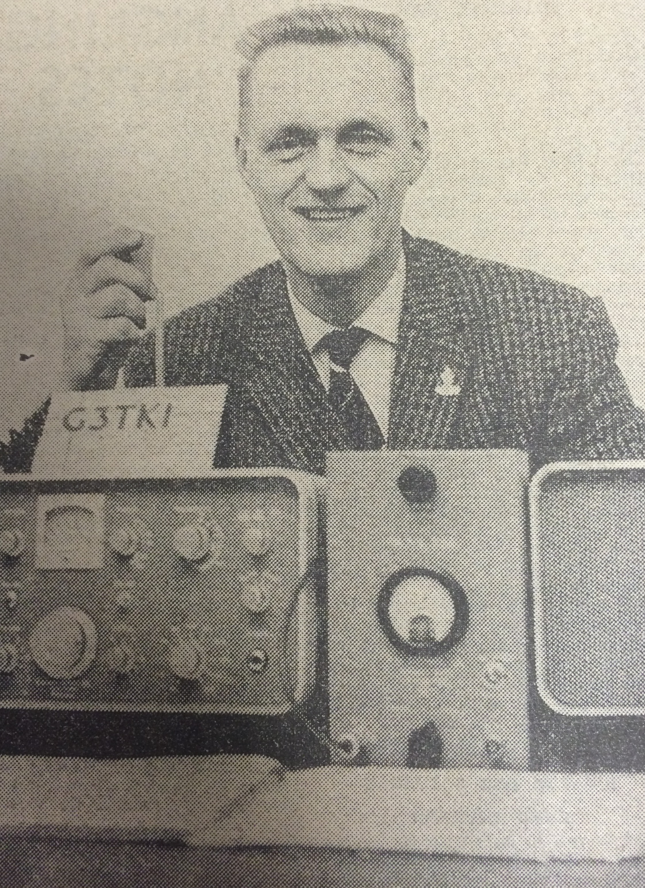 Donald Bradshaw with the radio on which he picked up news of the revolt in Ghana