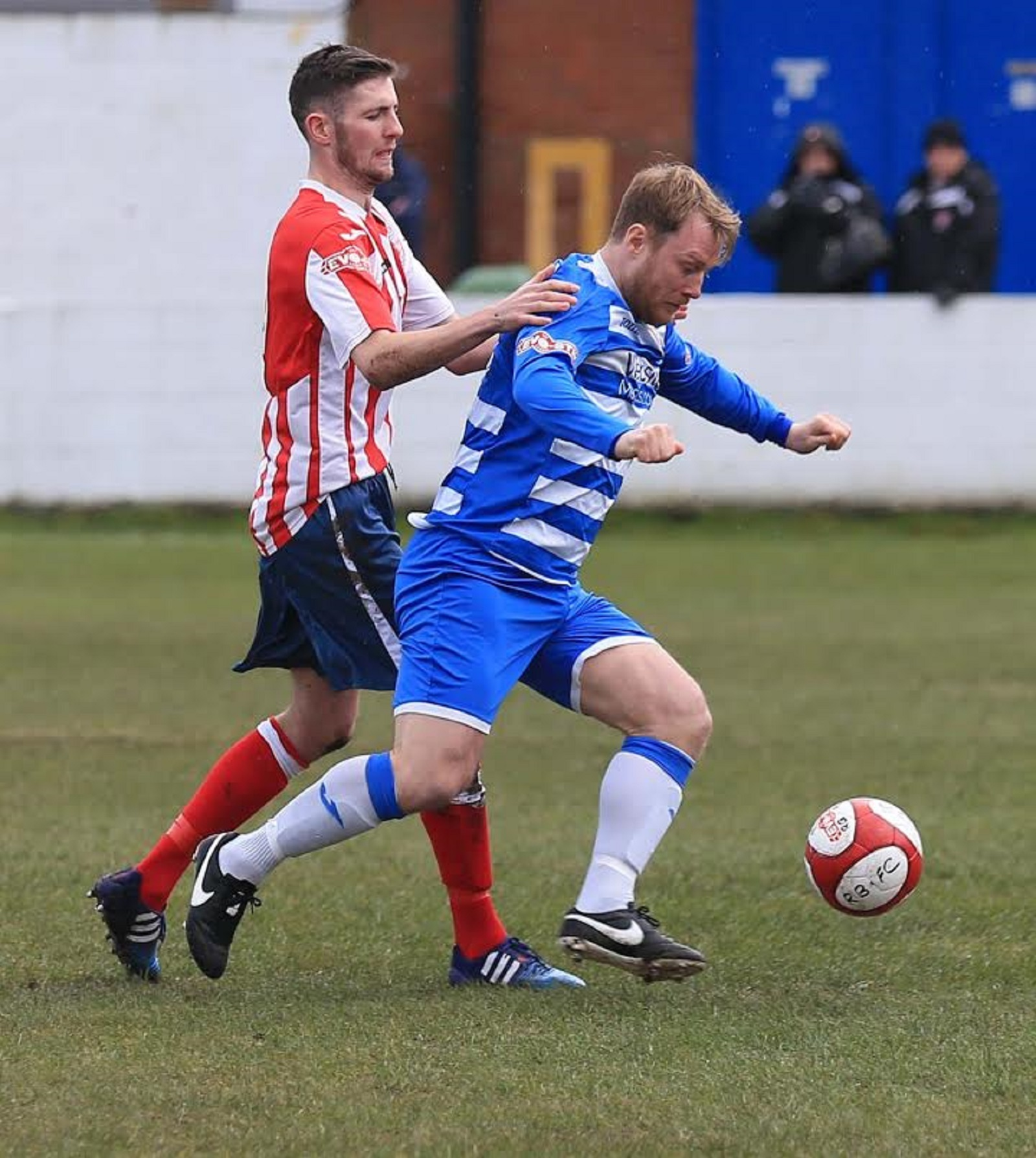 Jody Banim holds off a Witton player