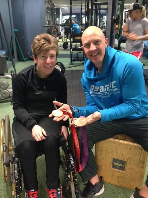 Zoe Robinson, left, with fitness trainer Matt Nuttall