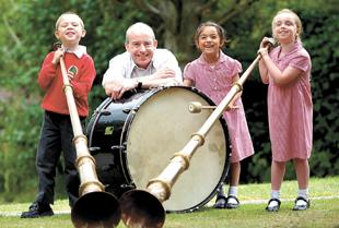 Bury Times: A MUSICAL JOURNEY: Stewart Death from Travelling by Tuba with Liam Rose, Sian Leicester and Katie Williams, all aged five
