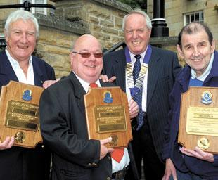 Three of a kind: Pictured with their Fellowship awards are (from left): Peter Hepburn, Jimmy Hill, Graham Duce, the current president of Peel Lions, and Ian Coughlin